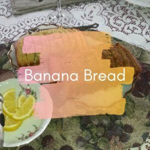 Banana Bread on table (with Banana Bread in overlay text)