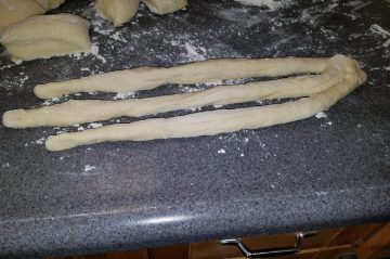 Bread dough rolled out