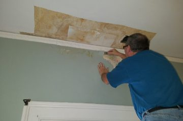 Ceiling and wall repair in The Knute Rockne room