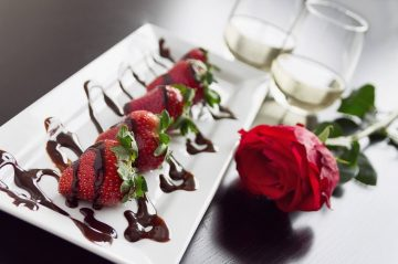 Chocolate covered strawberries champagne rose romance