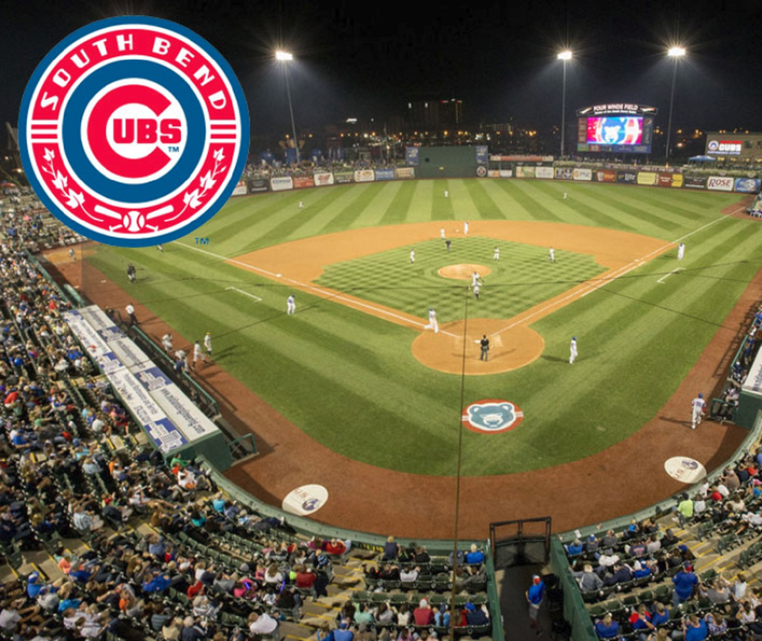 Chicago Cubs logo over field
