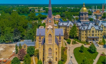 The Basilica of The Sacret Heart, and the Golden Dome building at the University of Notre Dame