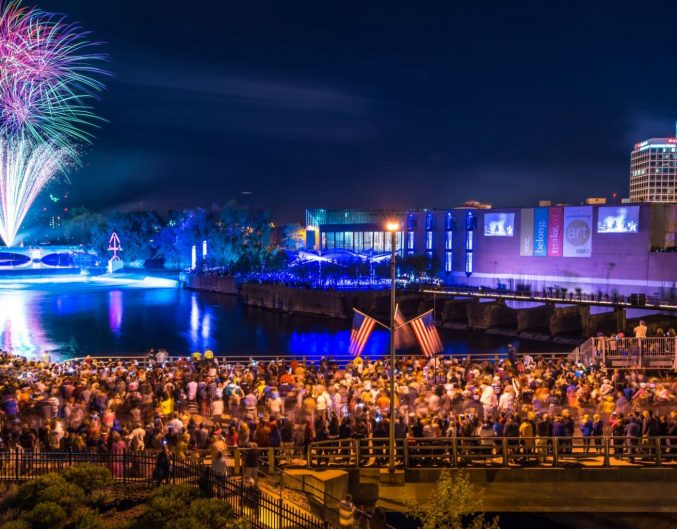 fireworks over the South Bend waterfront