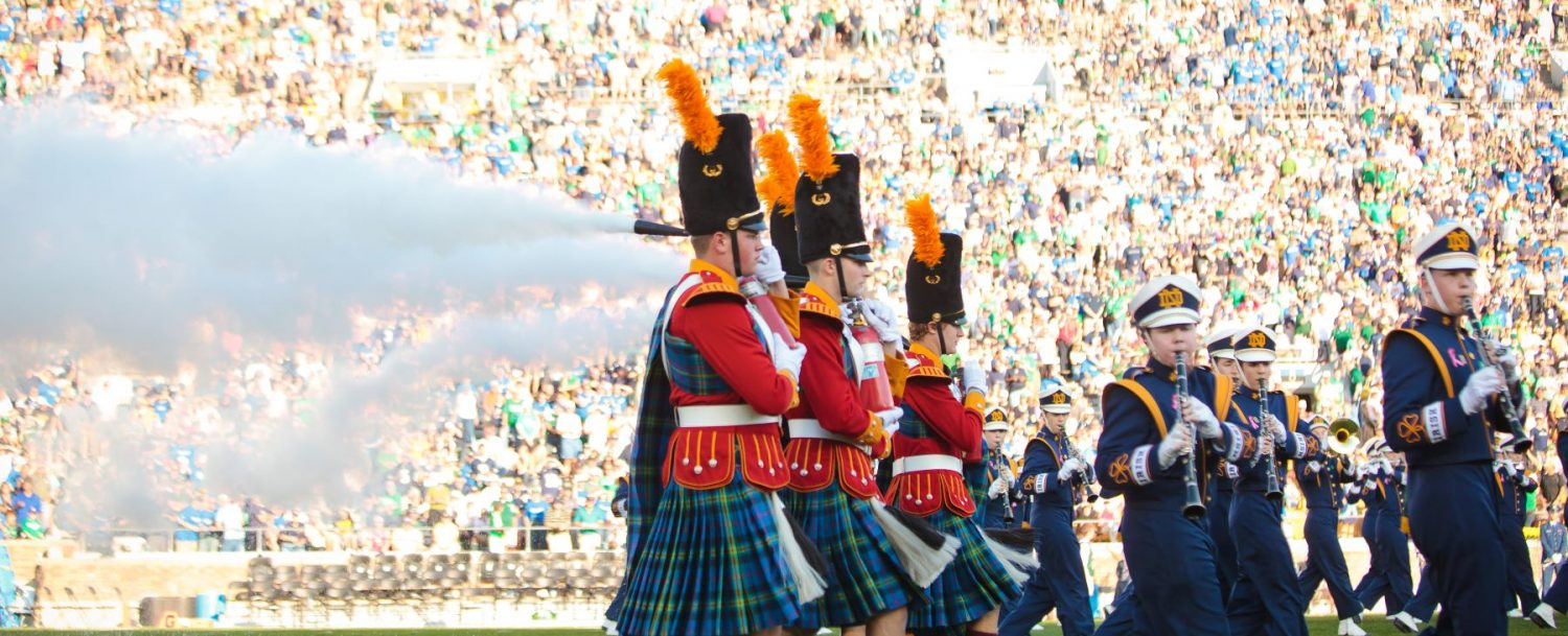the band at a Notre Dame football game