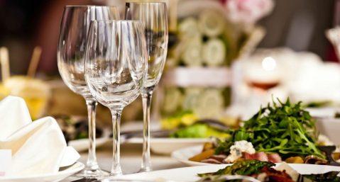 restaurant wine glasses on set table
